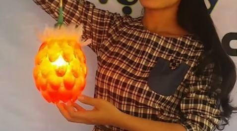 Đèn lồng trung thu bằng chai nhựa hình quả dứa