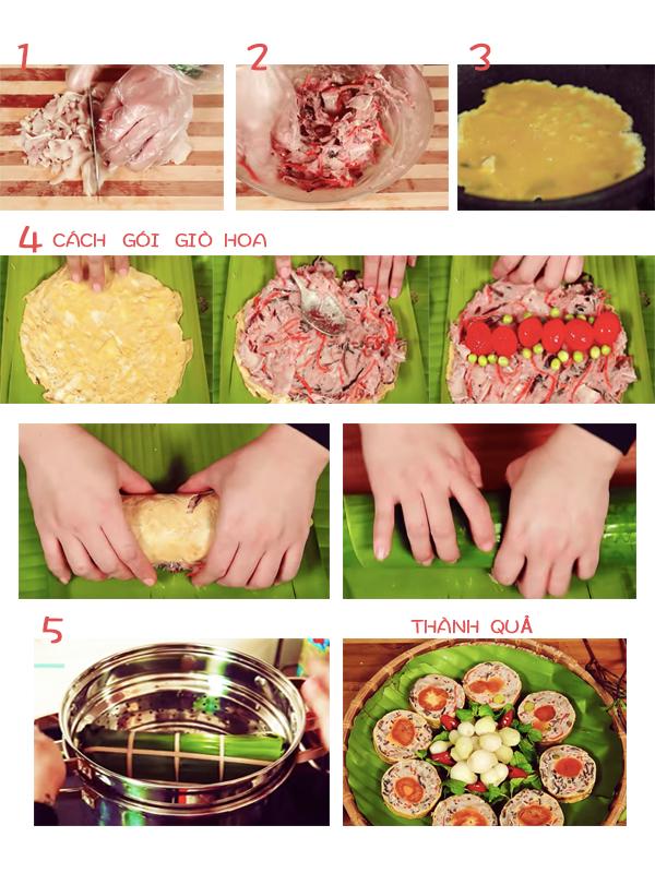 Cách làm giò hoa ngũ sắc