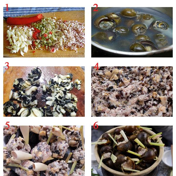 cách nấu món ốc nhồi thịt hấp sả