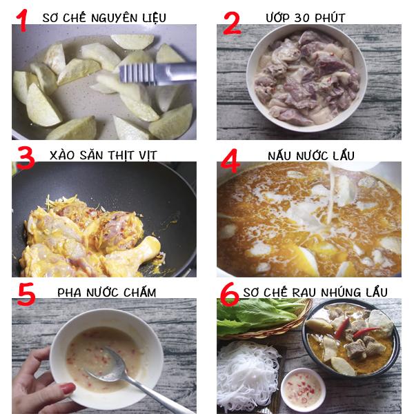Cách làm món lẩu vịt nấu chao