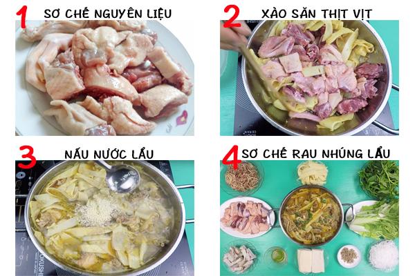 Cách làm món lẩu vịt măng cay