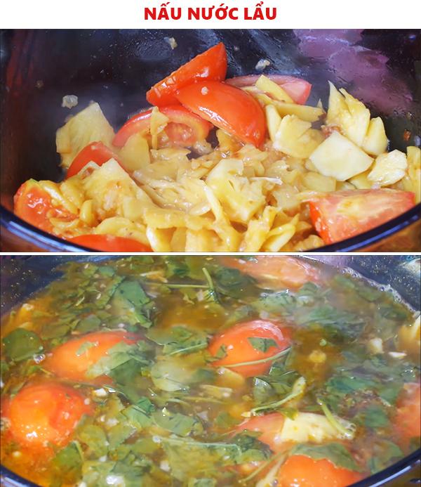 Nấu nước lẩu cá kèo lá giang