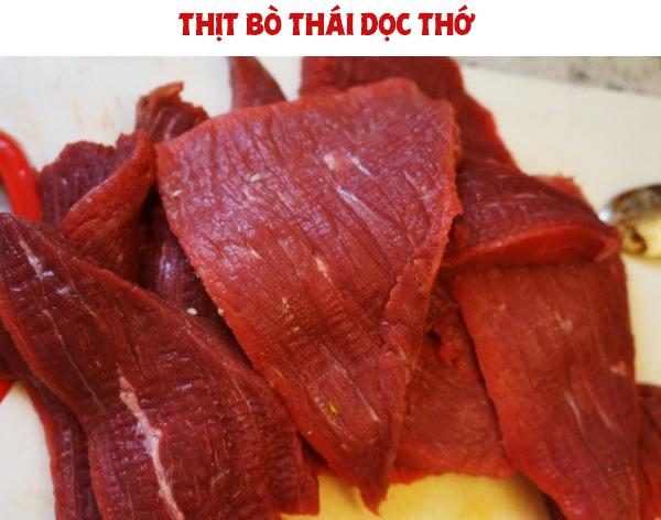 Thịt bò thái dọc thớ