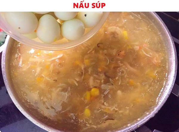 Cách nấu súp trứng cút hải sản