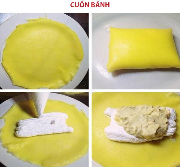 Cách cuốn bánh crepe sầu riêng