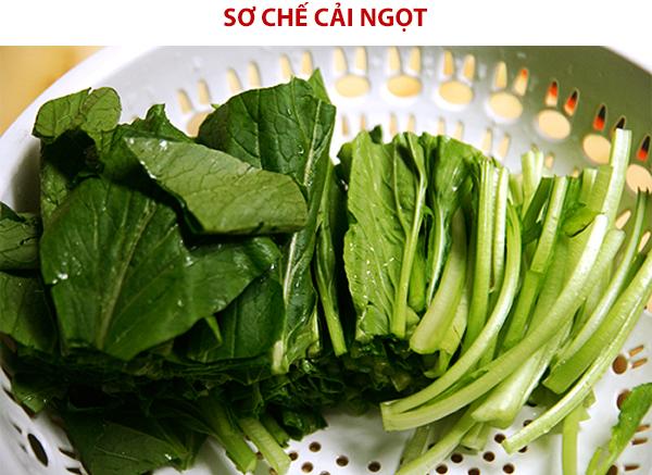 Sơ chế rau cải ngọt