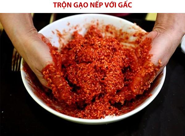 Cách trộn màu đỏ gấc cho gạo nếp