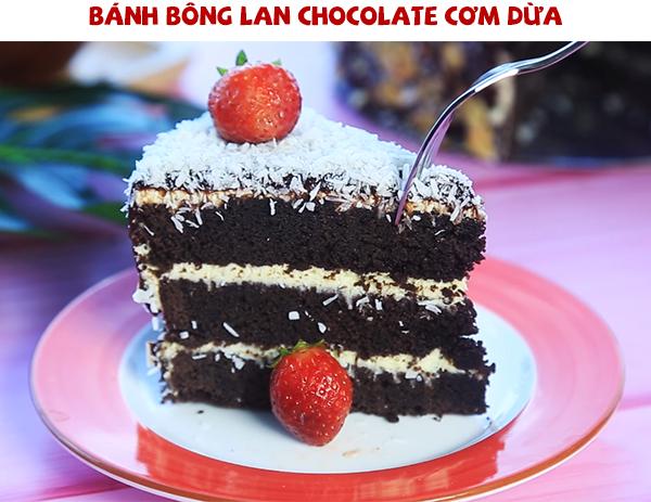 Cách làm bánh bông lan chocolate cơm dừa