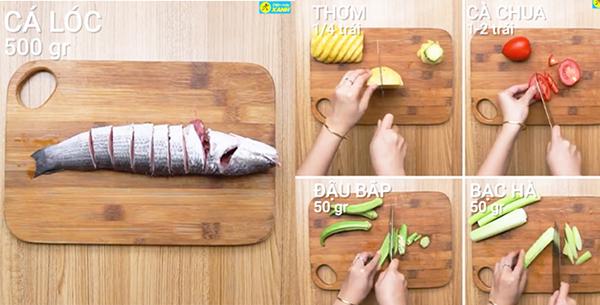 Sơ chế nguyên liệu nấu canh chua cá lóc