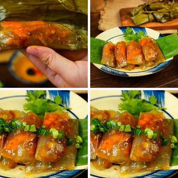 Cách làm bánh bột lọc Huế nhân tôm thịt gói lá chuối
