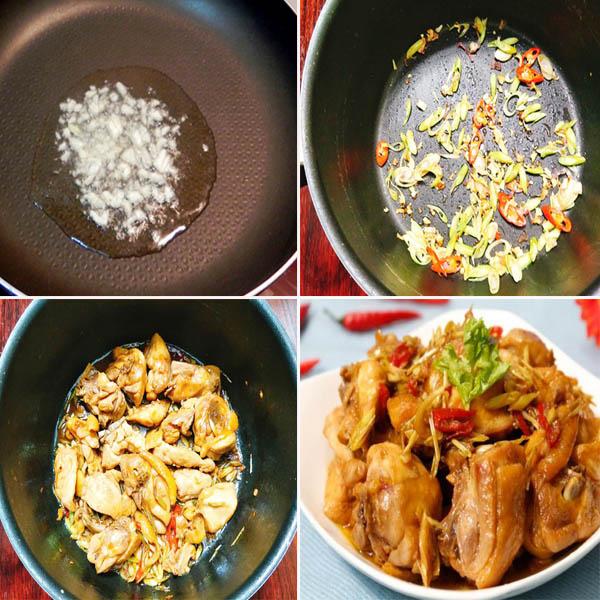 Cách làm gà xào sả ớt