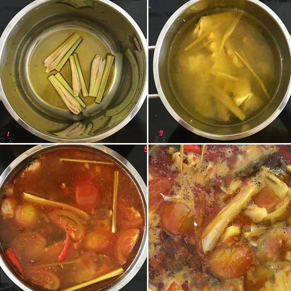 nấu nước dùng lẩu hải sản chua cay
