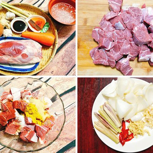 nguyên liệu nấu bò kho với nước dừa tươi